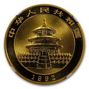 1992 1 oz Gold Chinese Panda MS-69 NGC - Large Date